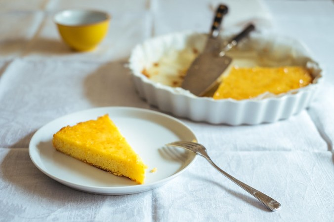 Ricotta amandel citroen cake - met kweepeergelei