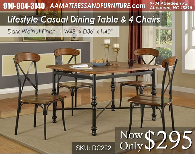 DC222DIN Lifestyle Dining Table and 4 Chairs WM