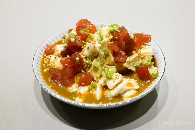 Fresh Meiji tofu, tuna, ponzu, sesame, scallions