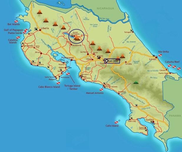 Mapa detallado Costa Rica