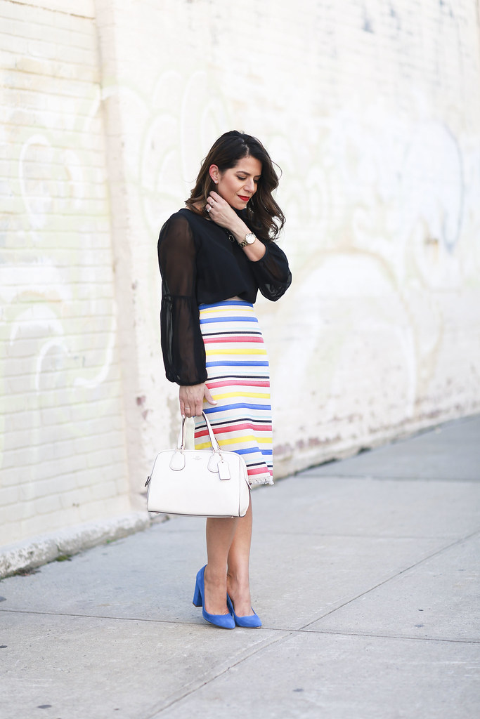 Jcrew skirt-colorful-stripes-blue heels-what to wear to work-corporate outfit-thredup-corproate catwalk-club monaco shirt-black top4