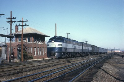 RF&P 1007 with Train 33, The Silver Comet, passing AF tower, Alexandria, VA on March 23, 1969.