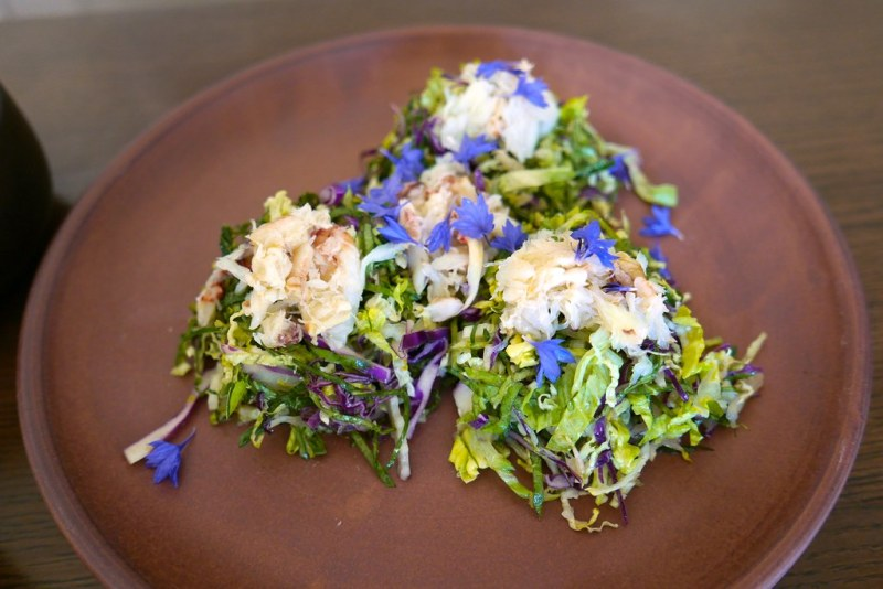 Cress, romaine, kale, Dungeness crab, Meyer lemon, ginseng