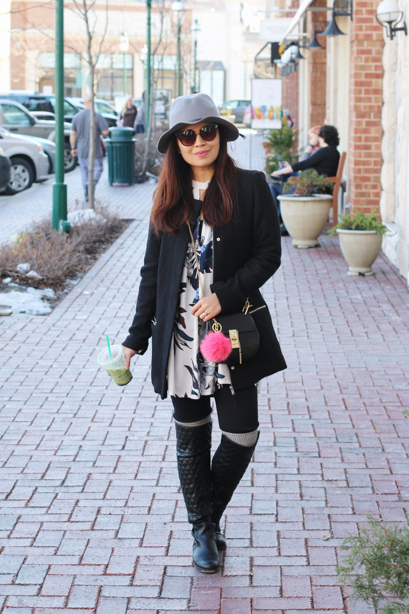 black-coat-floral-dress-hat-outfit-quilted-boots-8
