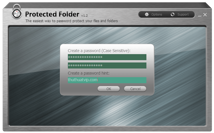 Nhập mật khẩu cho IObit Protected Folder