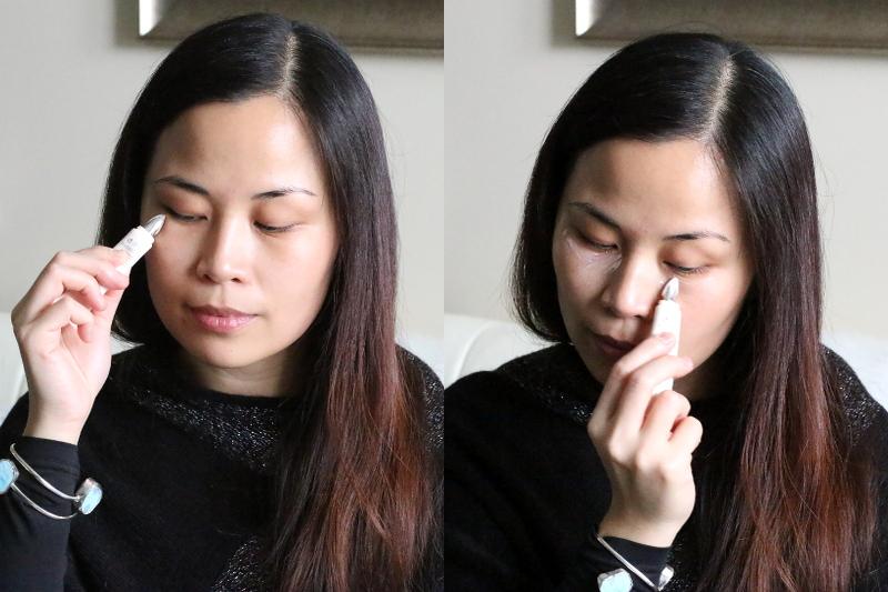 applying eye cream, depuffer