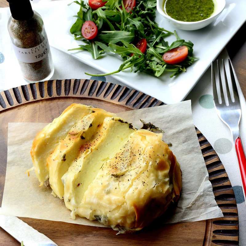 Overnight Herb Marinated Halloumi Baked in Filo Pastry