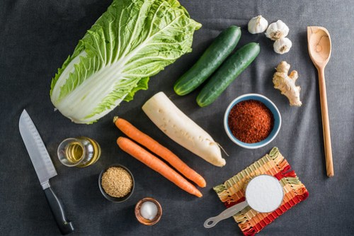 fresh vegetables and spices for the kimchi