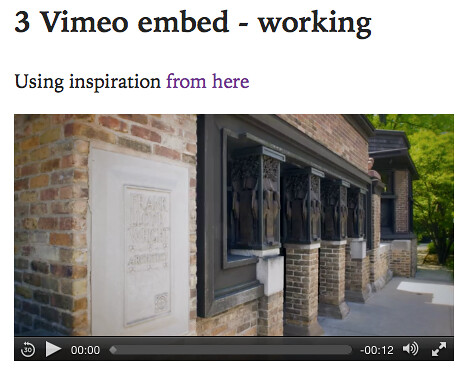 Vimeo embed working (video tag)