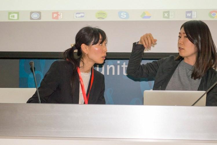Lisa Kobayashi y Miho Kazama en la presentación de Water Story en MICE