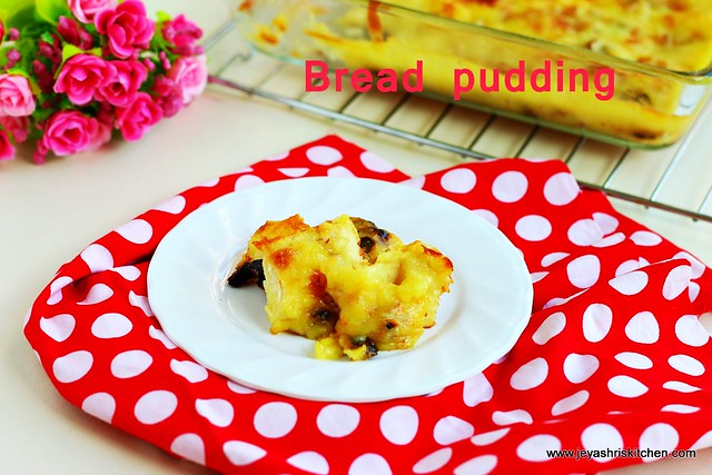 bread pudding with custard sauce