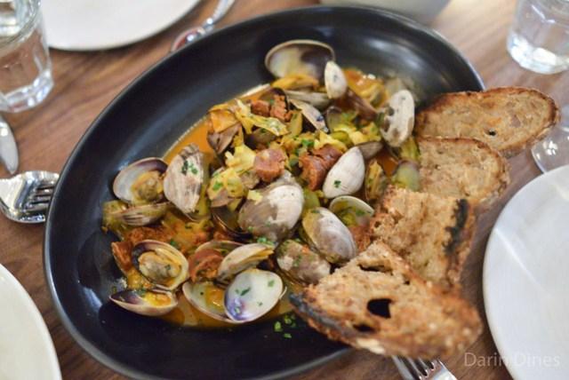 Manila clams, nduja