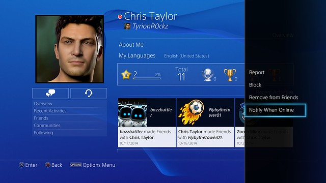 PS4 System Software 3.50 - Friend Online Notification