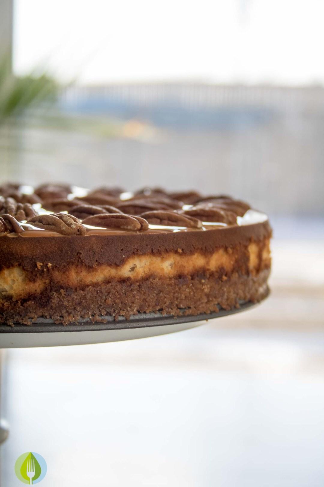 Spiced Whisky Pecan Pie Cheesecake | infinebalance.com #recipe #dessert