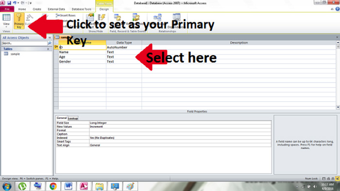 specifying primary key 2