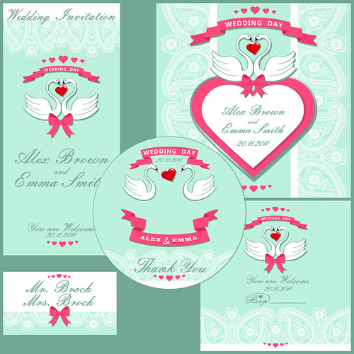 Wedding design  template with Paisley border,cartoon swans