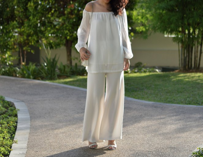 the editor's market white off shoulder blouse, stradivarius white flare pants, white strappy sandals