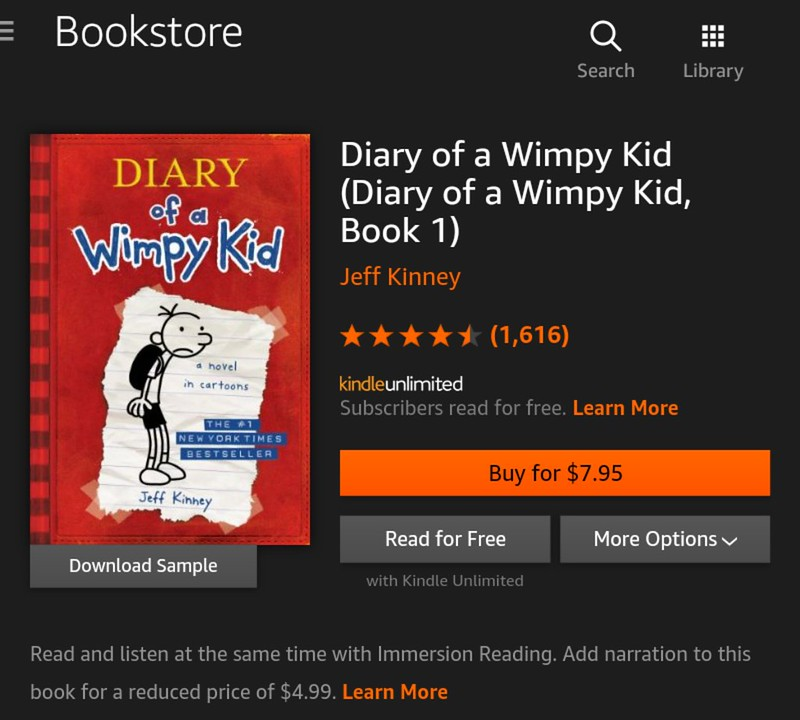 Kindle Unlimited books that you should be reading and listening now - Diary of a Wimpy Kid by Jeff Kinney