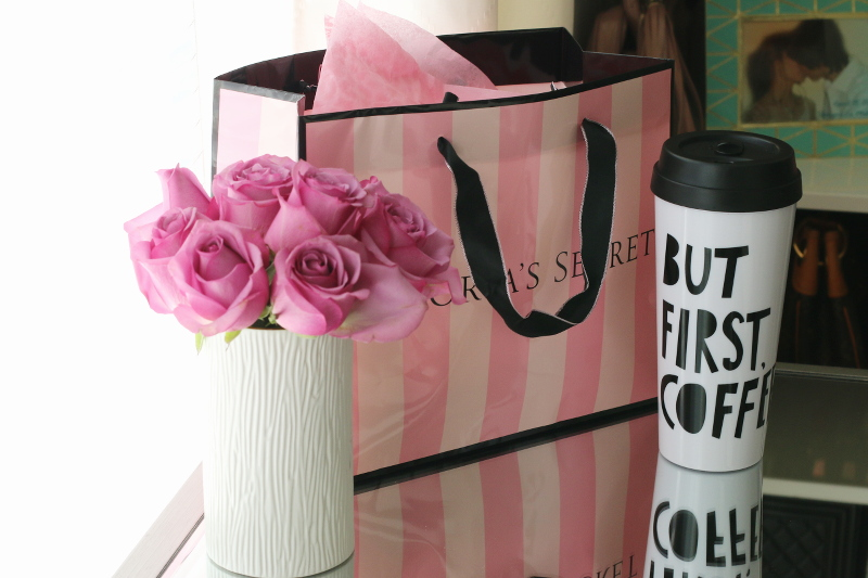 pink roses, victorias secret, but first coffee thermal mug