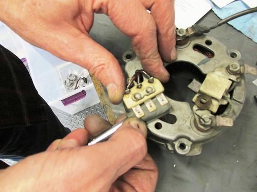 Cleaning Underside of Alternator 3-Phase Terminals