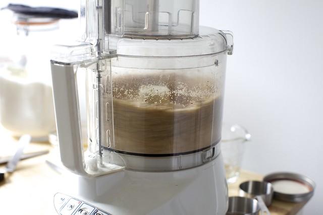 grinding hazelnuts, sugar, flour