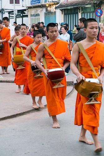 Tak bat monks.