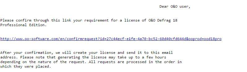 Email xác nhận nhận bản quyền O&O Defrag 18 Pro