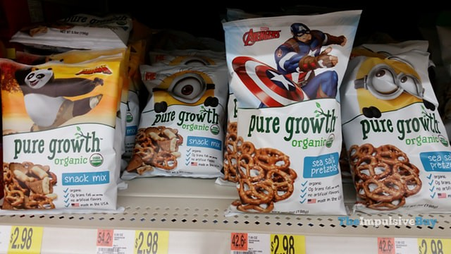 Kung Fu Panda, Minions, and Avengers Pure Growth Organic Snack Mix and Sea Salt Pretzels