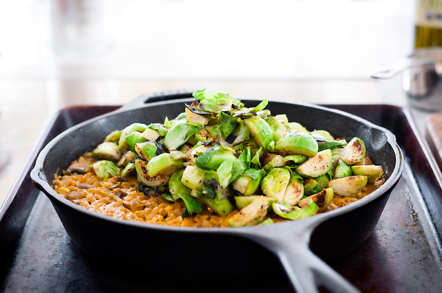 rice bake with brussels sprouts and winter squash