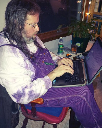 The Angry-looking Purple Writer #amwriting #overalls