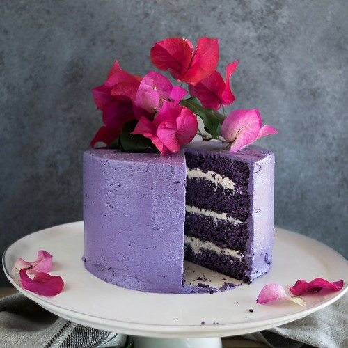 ube cake with vanilla marshmallow cream