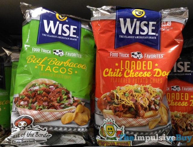 Wise Food Truck Favorites Potato Chips (Beef Barbacoa Tacos and Loaded Chili Cheese Dog)