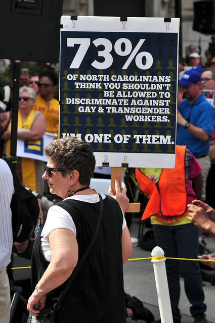 HB2 protestors attend the Moral Monday rally in Raleigh on April 25, 2016