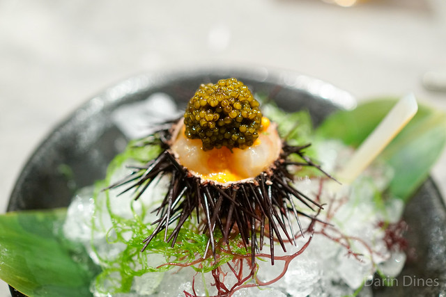 Marinated Botan Shrimp with Sea Urchin and Oscetra Caviar