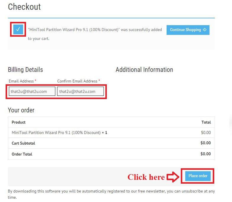 Bản quyền miễn phí MiniTool Partition Wizard Pro 9.1 bước 3: nhập email