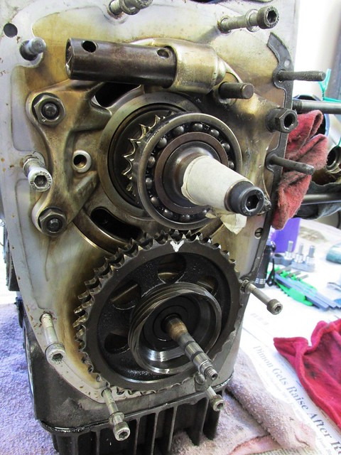 Timing Chain Removed Exposing Sprockets and Crankshaft Nose Bearing