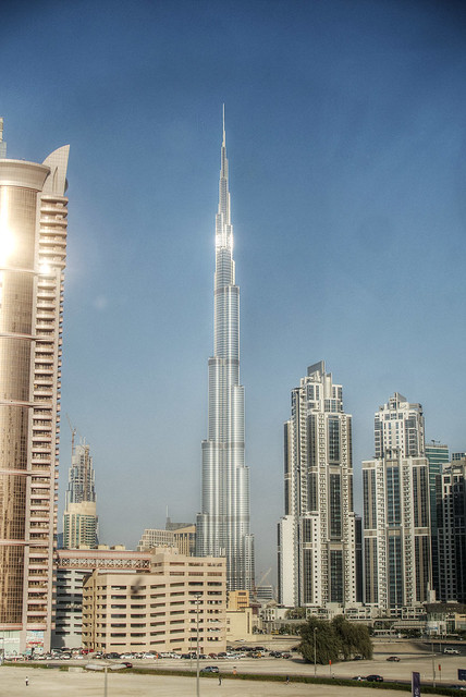 The Burj Khalifa building.