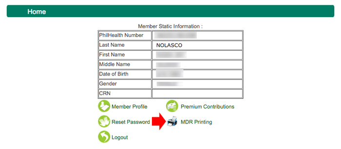Philhealth member data record - static info