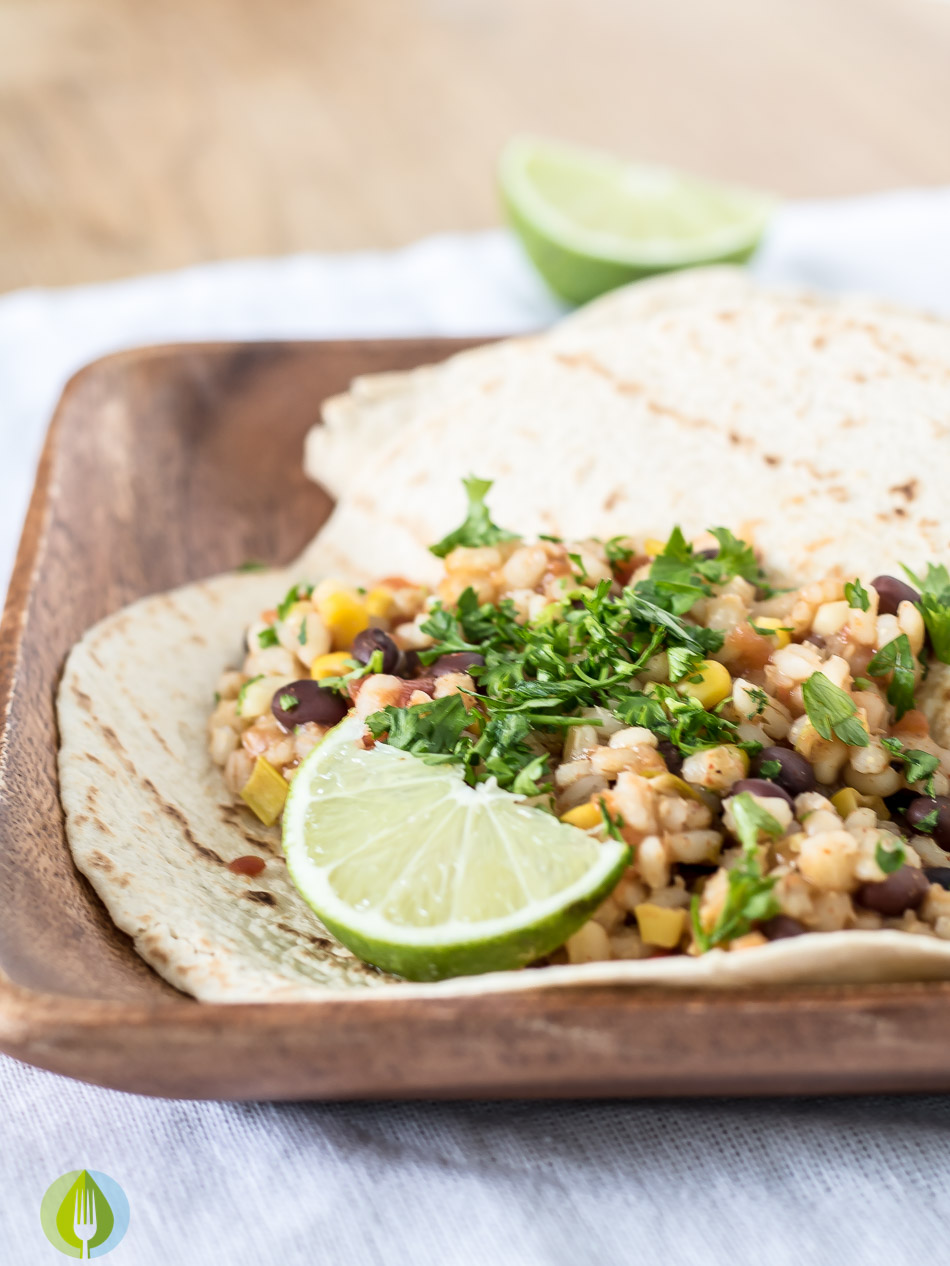 Slow Cooker Black Bean and Barley Burritos vegan slow cooker crockpot corn chillies black beans beans barley