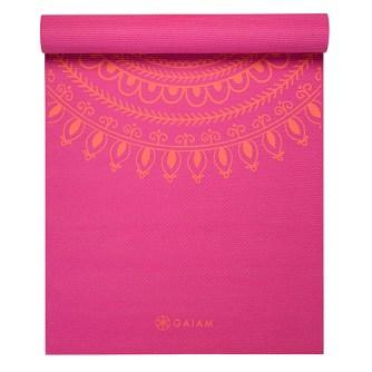 Gaiam 3mm Classic Printed Yoga Mat Pink 2