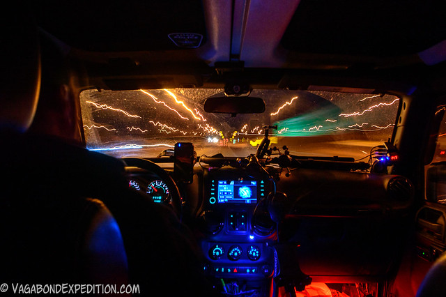 ludicrous speed with the vagabond overland jeep wrangler - long exposure driving at night