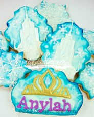 Frozen castle and crown themed cookies