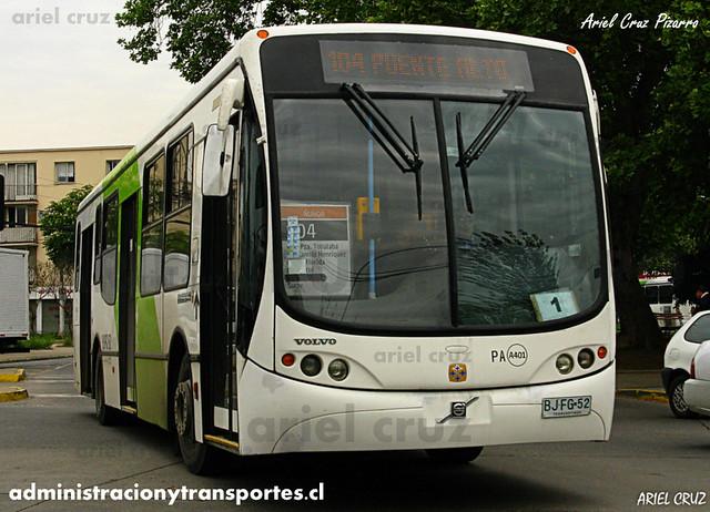 Transantiago - Inversiones Alsacia - Busscar Urbanuss Pluss / Volvo (BJFG52)