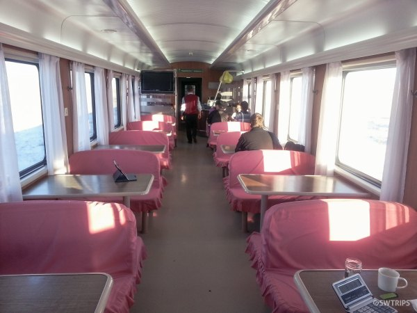 Restaurant Car in the Ulanbaatar to Beijing Train - Ulanbaatar, Mongolia