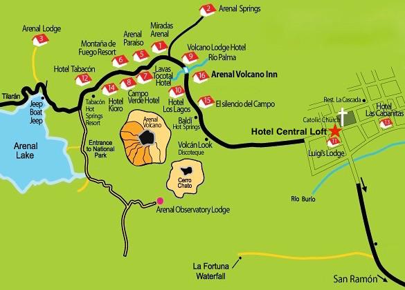 Mapa La Fortuna San Carlos