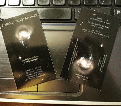 Day 15 of #AuthorLifeMonth: Swag! All I have right now are these business cards. I plan to have bookmarks printed later this year. Maybe buttons, too! #amwriting