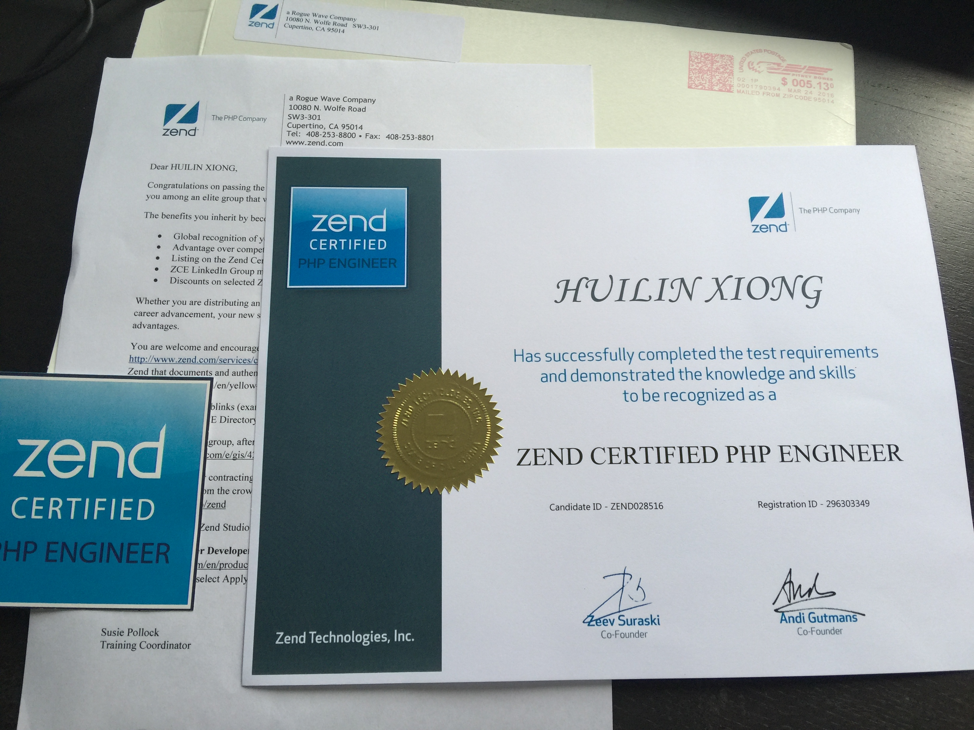 certificate engineer zend certified received zce