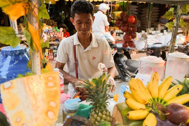Our regular fruit shake man. Siem Reap