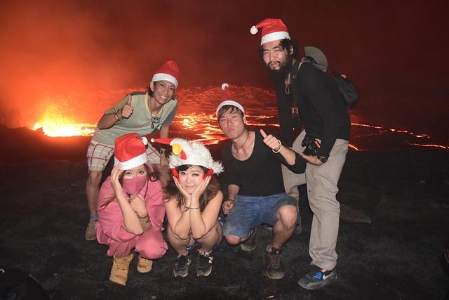 サンタ帽で記念撮影