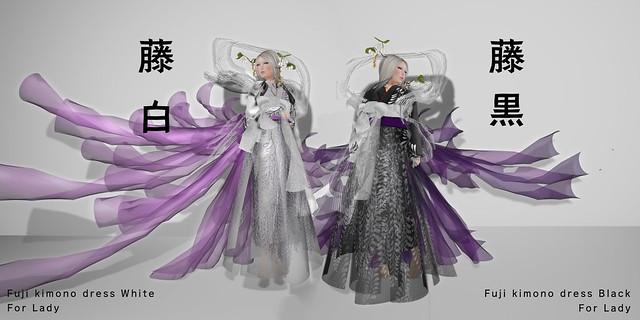 *NAMINOKE*FUJI-KIMONO DRESS White/Black (LADY)